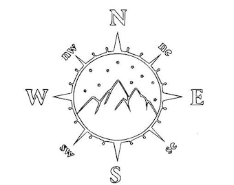 Hand Embroidery, PDF File: Mountain Compass