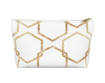 Makeup Bag: Gold Geometric