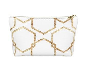 Makeup Bag: Gold Geometric