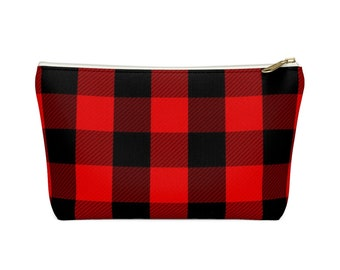Makeup Bag: Red Plaid