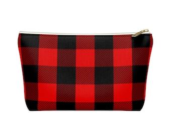 Makeup Bag: Red Plaid