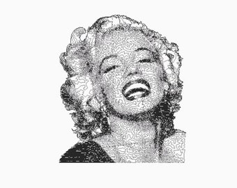 Set of 10 Marilyn Monroe Embroidery Files: 5x7 PES Format