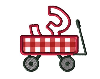 Christmas Wagon No. 3 Applique Embroidery File: 5x5, PES Format