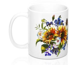 Sunflower Mug, 11oz Mug, Custom Coffee Mug, Tea Mug, Custom Gift, Gift for Her, Stocking Stuffer, Home Decor, Cups, Mugs