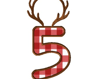 8x8 Antlers Numbers Applique Embroidery File: Number 5