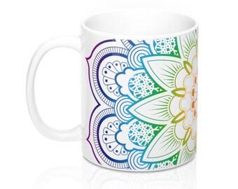 Rainbow Mandala, 11oz Mug, Custom Coffee Mug, Tea Mug, Custom Gift, Gift for Her, Stocking Stuffer, Home Decor, Cups, Mugs