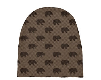 Brown Bears Baby Beanies Size 0-6 Months , Printed Baby Hat, Infant Beanie, Infant Hat, Baby Shower Gift, Baby Gift