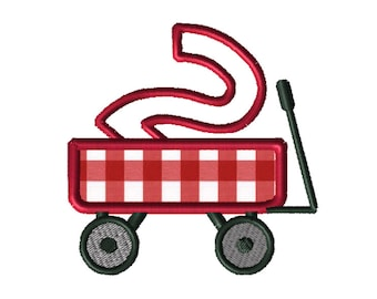 Christmas Wagon No. 2 Applique Embroidery File: 5x5, PES Format