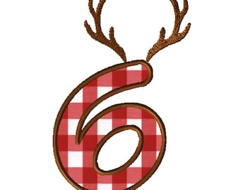 8x8 Antlers Numbers Applique Embroidery File: Number 6