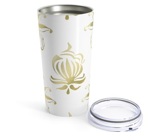 Tumbler 20Oz: Gold Floral Design