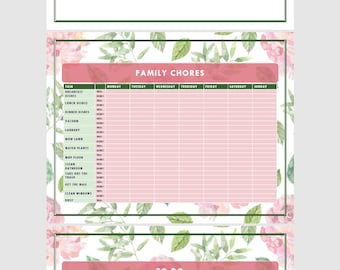 PDF Family Chore Charts: Rose Design