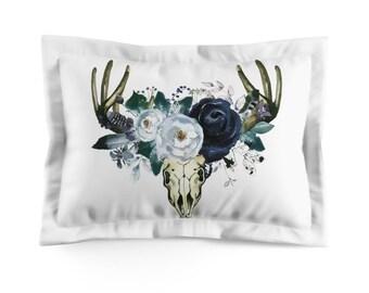 Navy Floral Microfiber Pillow Sham