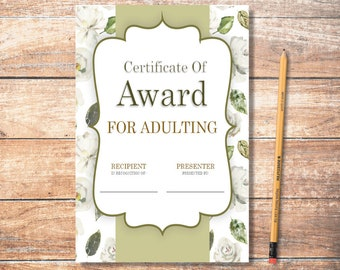 PDF Printable Certificate: Adulting Floral 2