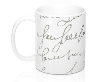 Old Script, 11oz Mug, Custom Coffee Mug, Tea Mug, Custom Gift, Gift for Her, Stocking Stuffer, Home Decor, Cups, Mugs