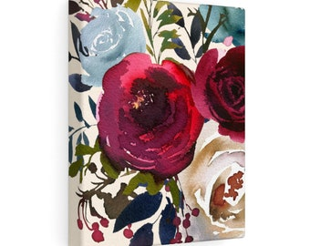 Red and Blue Floral 8x10 Canvas Art, Home Decor, Wall Art, Canvas Art, Nursery Decor, Living Room Decor, Bedroom Decor, Stretched Canvas
