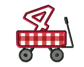 Christmas Wagon No. 4 Applique Embroidery File: 5x5, PES Format