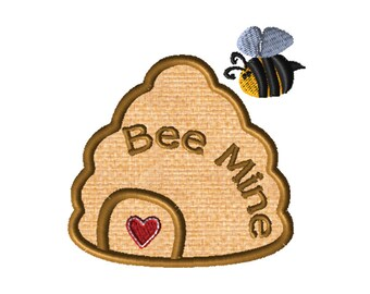 Bee Mine Hive, Valentine's Applique Embroidery File: 5x5, PES Format