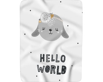 Hello World Blanket, Sherpa Fleece Nursery Blanket, Large Baby Blanket, Custom Nursery Blanket, Large Crib Blanket, Baby Shower Gift
