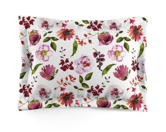 Pink And Red Floral Microfiber Pillow Sham