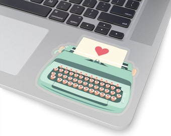 Teal Typewriter Kiss-Cut Stickers