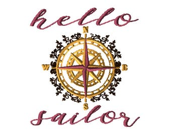 Embroidery File 5x7: Hello Sailor