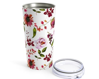 Tumbler 20Oz, Floral Tumbler: Blush and Coral Design