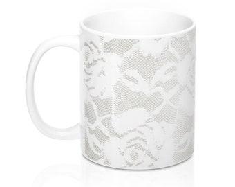 White Lace, 11oz Mug, Custom Coffee Mug, Tea Mug, Custom Gift, Gift for Her, Stocking Stuffer, Home Decor, Cups, Mugs