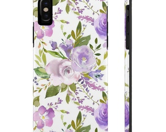 Purple Floral Phone Case, Case Mate Tough Phone Cases, Custom Phone Cases, iPhone Case, Samsung Phone Case, Galaxy Case