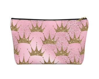 Makeup Bag: Pink with Gold Crown