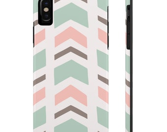 Pink And Mint Chevron, Case Mate Tough Phone Cases