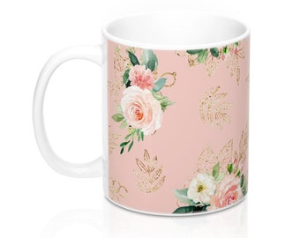 Pink Floral, 11oz Mug, Custom Coffee Mug, Tea Mug, Custom Gift, Gift for Her, Stocking Stuffer, Home Decor, Cups, Mugs