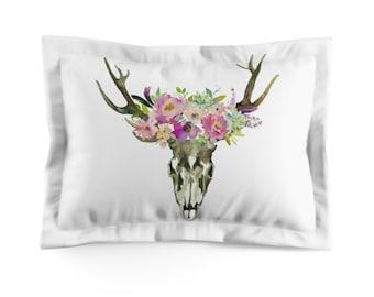 Floral Pastel And Skull Microfiber Pillow Sham
