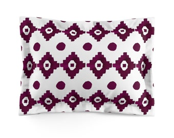 Burgundy Geometric Microfiber Pillow Sham