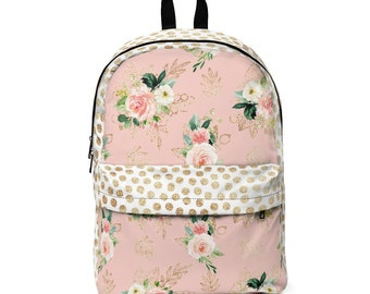 Classic Backpack: Pink and Gold Floral