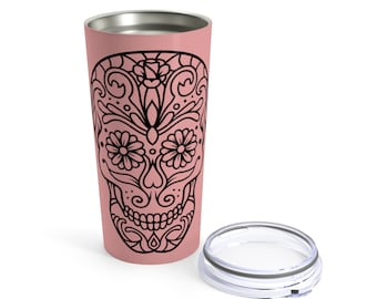 Rose Gold Sugar Skull Tumbler 20Oz