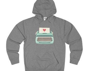 Teal Typewriter French Terry Hoodie - Unisex