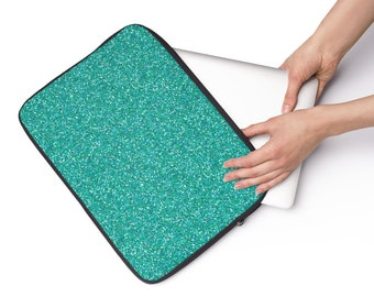 Teal Glitter Custom Printed Laptop Sleeve