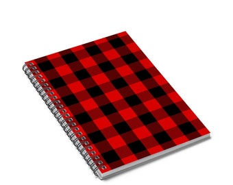 Ruled Line Spiral Journal: Red Plaid