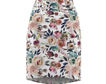 Blue and Pale Roses Women's Pencil Skirt
