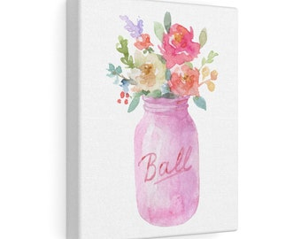 8x10 Canvas Art: Pink Mason Jar