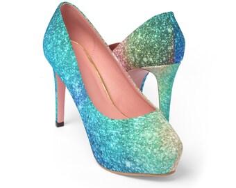 Rainbow Glitter Platform Heels