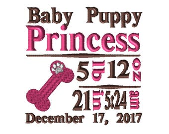 CUSTOM Birth Info Embroidery File: 5x7 Puppy
