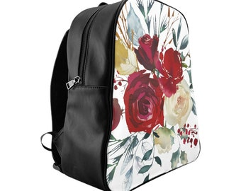 School Backpack, Custom Printed Bag: Floral Design 3