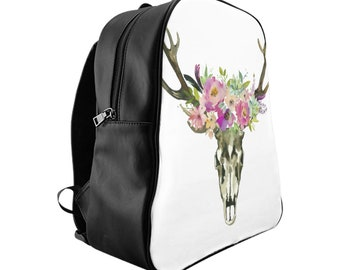 School Backpack, Custom Printed Bag: Floral Skull 1