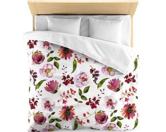 Microfiber Duvet Cover: Floral Design Blush and Coral