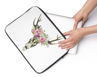 Floral Skull Laptop Sleeve