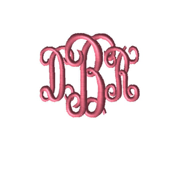 Choose Your Size Custom Embroidery File Monogram Digital File