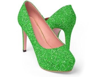 Glitter Platform Heels: Green