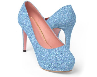Glitter Platform Heels: Light Blue