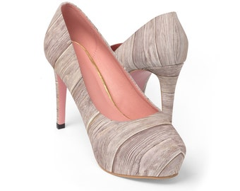 Light Wood Grain Platform Heels